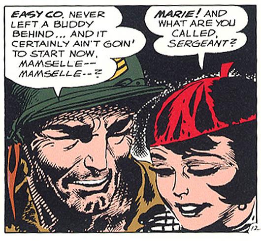 A panel from 'Sgt. Rock,' drawn by Joe Kubert.
