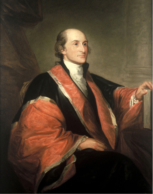 Painting of John Jay (1745-1829), a Founding Father of the United Stated who served as the first Chief Justice of the United States Supreme Court and negotiated the Jay Treaty of 1794, which settled major grievances with Great Britain and promoted commercial prosperity. The portrait is displayed in the New York State Hall of Governors in Albany.