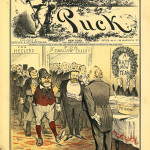 Cover of 'Puck' magazine, Dec. 27, 1882, with a caricature of Governor-elect Grover Cleveland hosting a party for wealthy supporters who were about to receive office appointments and other perks in return for their help in getting him elected. New York State Library Collection.