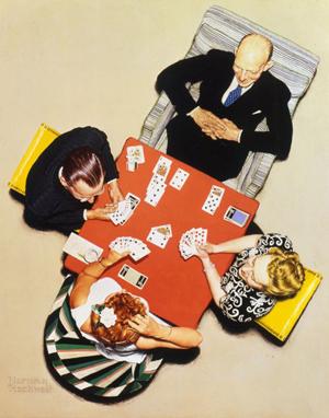 Norman Rockwell (1894-1978), Bridge Game – The Bid, 1948, oil on canvas.