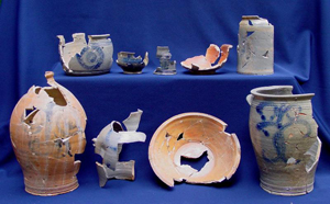 An assemblage of pottery made by American colonist James Rhodes, 1774-1784, from an exhibition that will run from Sept. 14, 2012 through Jan. 13, 2013 at Ellarslie, the Trenton (N.J.) City Museum. Image courtesy of the Trenton Museum Society.
