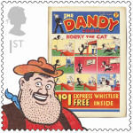 The celebrate Britain's rich comic book heritage, the Royal Mail produced a series of stamps featuring classic titles that included 'The Dandy.' Fair use of copyrighted image sourced from Wikipedia Foundation and used to illustrate the importance and iconic status of 'The Dandy' in the United Kingdom. 'The Dandy' is published by D.C. Thomson & Co. Ltd.