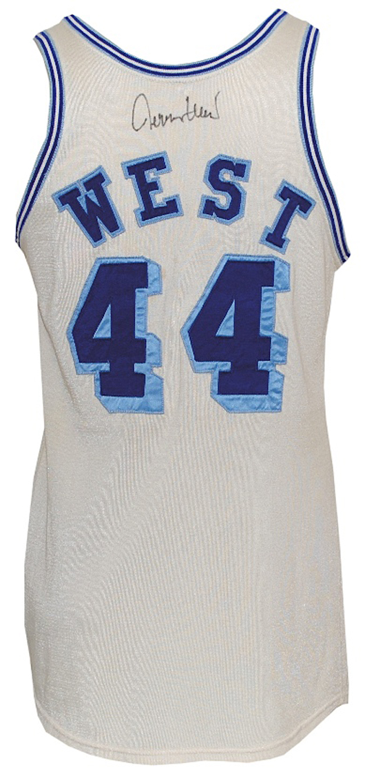 Early 1960s Jerry West Los Angeles Lakers game-used and autographed home jersey, rare style (JSA). Grey Flannel Auctions image.