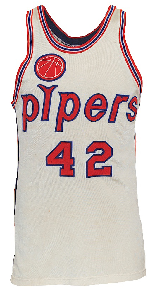1967-68 Connie Hawkins inaugural ABA season rookie Pittsburgh Pipers game-used home jersey, photomatch, sourced from trainer (ROY, MVP & Championship Season). Grey Flannel Auctions image.