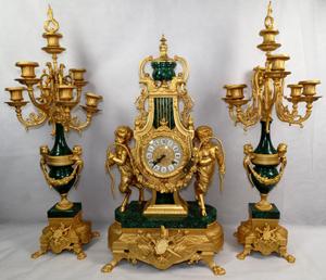 Malachite clock set. Carstens Galleries image.