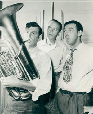 The fictional town of 'Mayberry,' setting for 'The Andy Griffith Show,' is believed to have been based on Andy Griffith's hometown of Mount Airy, N.C. In this 1963 TV show publicity picture, Griffith, who played Sheriff Andy Taylor, is pictured at left. Also shown are two other pivotal characters from the show: Deputy Barney Fife (played by Don Knotts, center) and Gomer Pyle (played by Jim Nabors, right).