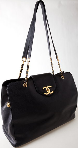 Vintage Chanel 'Black Caviar' leather weekender bag, offered in Heritage Auctions' weekly Internet Luxury Accessories Auction ending Aug. 21, 2012. It is expected to sell for more than $1,000. Image courtesy of Heritage Auction Galleries.