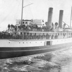 Historic photo of Steamship Islander of the Canadian Pacific Navigation Co. leaving Vancouver, BC for Skagway Bay in 1897. Photo by Thomas McNabb Jones. Source: Library and Archives of Canada. Public domain image in the USA.
