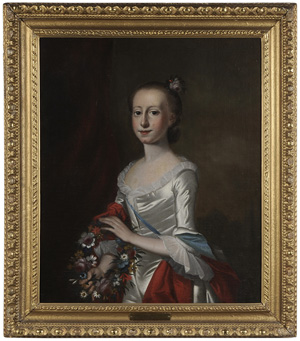 Jeremiah Theus (Swiss/American, 1716-1744), portrait of Elizabeth Allen Deas, acquired by Colonial Williamsburg. Image courtesy of Brunk Auctions, Asheville, N.C.