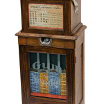Five-cent Caille Bros. gum vendor front floor model three-reel trade stimulator with music. Victorian Casino Antiques image.