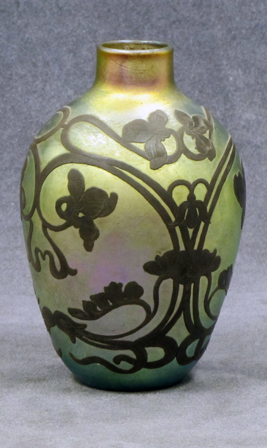 Quezal silver overlay vase. William Jenack Estate Appraisers and Auctioneers image.
