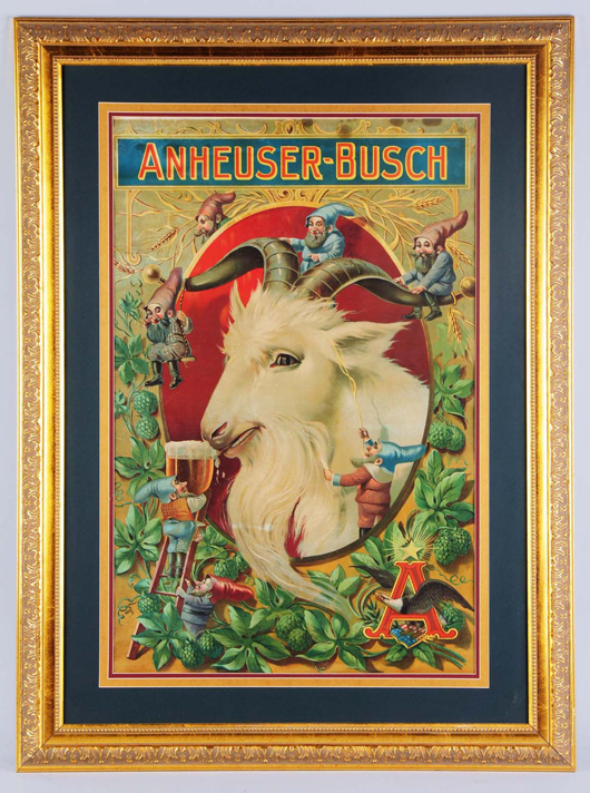 Anheuser-Busch (St. Louis, Mo.) Bock Beer pre-Prohibition lithograph with beautiful imagery of elves and goat, est. $25,000-$45,000. Morphy Auctions image.