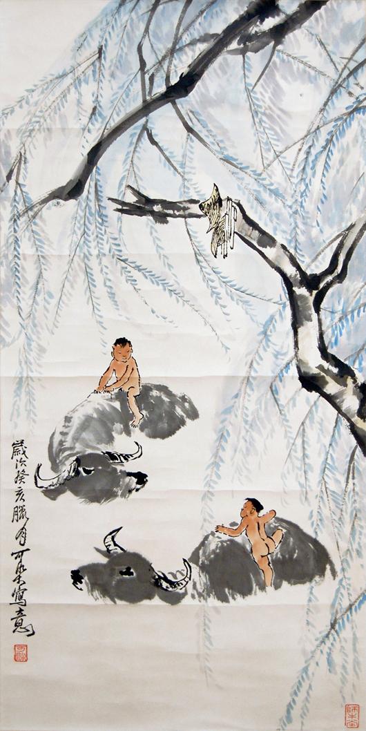 'Buffalo Herders in Shade' by Li Keran. Gianguan Auctions image.