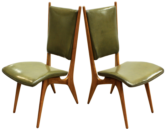 As much works of art as functional furniture, these Vladimir Kagan side chairs carry an estimate of $2,000-$4,000. Clars Auction Gallery image.