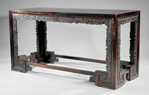 Fine and rare Chinese zitan table, 62 1/4 inches wide x 25 3/4 inches deep. Estimate: $100,000-$150,000. Neal Auction Co. image.