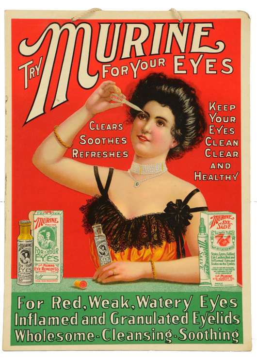Celluloid-over-cardboard sign advertising Murine eye-care products, $3,600. Morphy Auctions image.