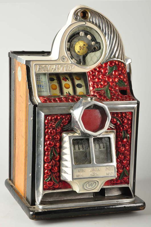 Rol-A-Top cherry-front 10-cent coin-op jackpot machine, $6,000. Morphy Auctions image.