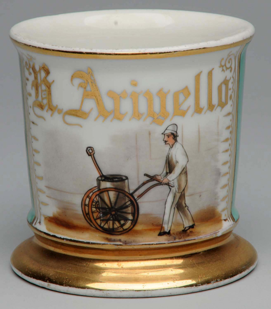 Antique occupational shaving mug with image of street cleaner, $11,400. Morphy Auctions image.