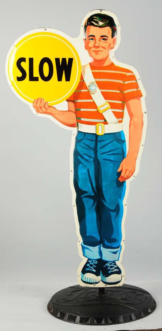 Pepsi-Cola patrol boy school crossing sign, $9,000. Morphy Auctions image.