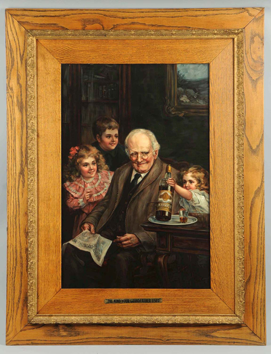 Early 20th century reverse-on-glass sign advertising I.W. Harper Whiskey, $9,000. Morphy Auctions image.
