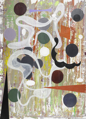 Joseph Stabilito (American, b. 1955), Five oil and collage on paper, all untitled, 1994; Signed and dated; 50