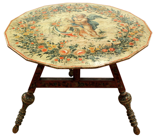 This early 19th century Swedish Neoclassical polychrome decorated tilt-top tea table depicting two different Classical scenes on either side carries an estimate of $3,000-$5,000. Clars Auction Gallery image.