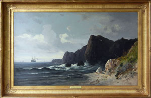 F. (Frederick) Schafer oil-on-canvas seascape 'North Heads on the Pacific Coast, California,' Stephenson's Auctioneers image.