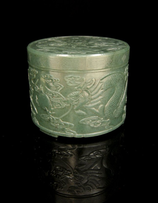 Finely carved spinach-green jade box with cover. Gianguan Auctions image.