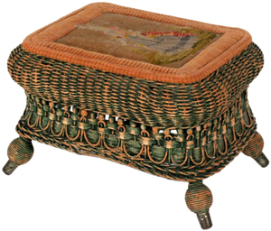 Heywood-Wakefield Co. made this wicker stool at the end of the 1890s. It is 9 3/4 by 14 1/2 by 11 1/2 inches. It matches other wicker furniture the company made. The stool sold for $48 at a Gray's Auctioneers sale in Cleveland.