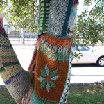 Crocheted and knitted tree hugger by Reykjavik Underground Yarnstormers, Reykjavik, Iceland. Photo by Kelsey Savage.