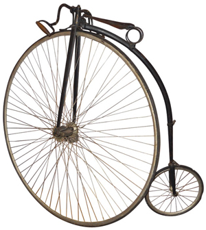 The front wheel of this antique high-wheeler is 56 inches in diameter. Image courtesy LiveAuctioneers.com Archive and Rich Penn Auctions.