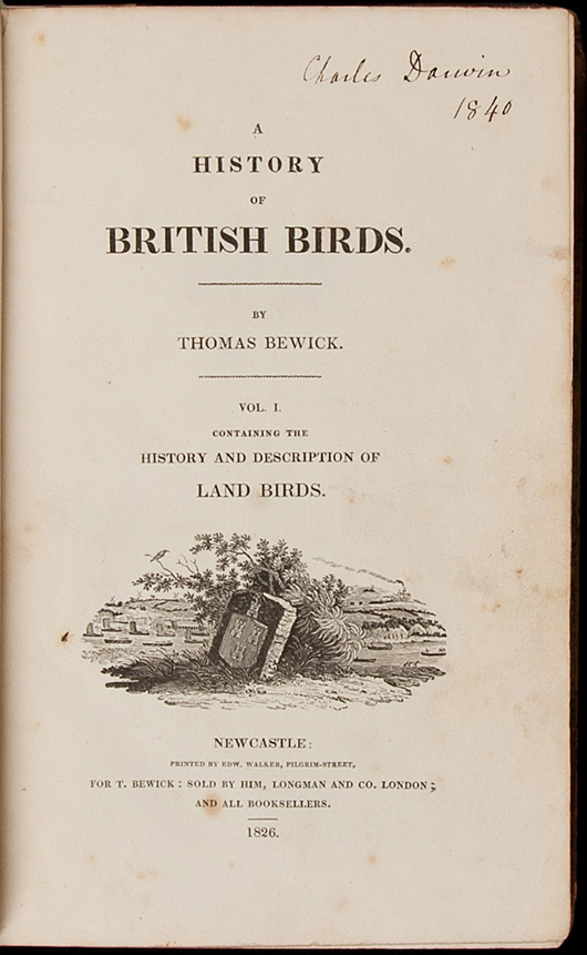 Charles Darwin's copy of Thomas Bewick's 'A History of British Birds,' two volumes, signed by him on each title-page, dated 1840. Estimate: $60,000-$90,000. PBA Galleries image.