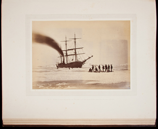An image from William Bradford's 'The Arctic Regions, Illustrated with Photographs Taken on an Art Expedition to Greenland,' 1873, which contains 141 mounted original albumen photographs in a massive folio. Estimate: $140,000-$180,000. PBA Galleries image.