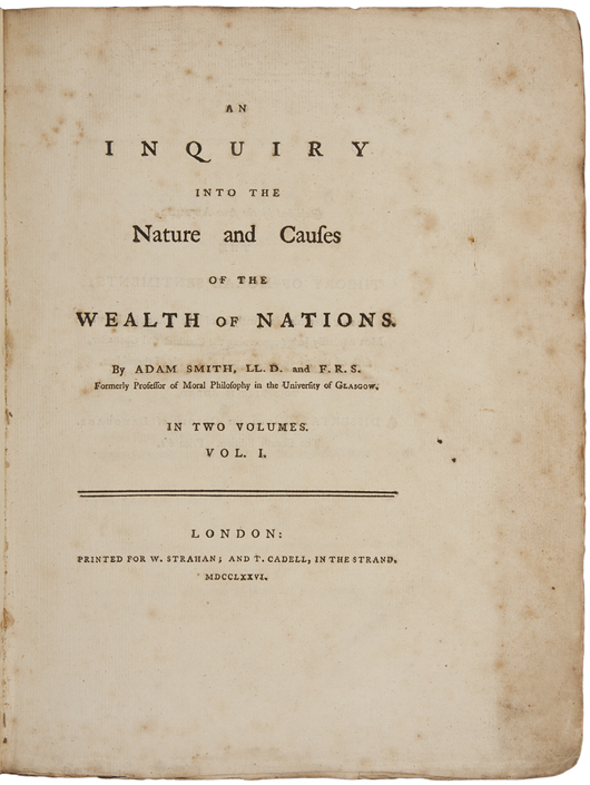 Adam Smith's 'An Inquiry into the Nature and Causes of the Wealth of Nations,' two volumes, 1776, the first edition, in rare untrimmed state. Estimate: $100,000-$150,000. PBA Galleries image.