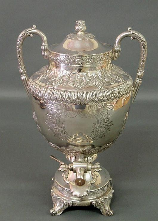 Sanborns Mexico sterling silver hot water urn. Estimate: $1,500-$2,000. Wiederseim Associates Inc.