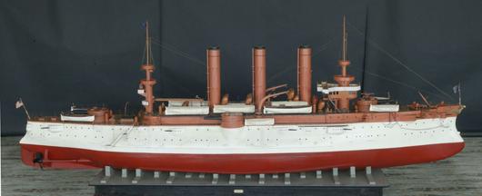 Ship model, Armored Cruiser No. 3, USS Brooklyn of 1896, 14 feet long. Estimate: $4,000-$6,000. Wiederseim Associates Inc.