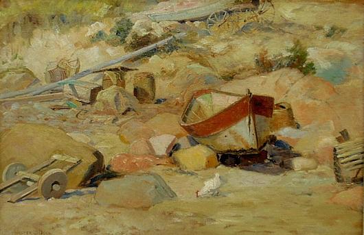 Dean, Walter Lofthouse (American/Massachusetts, 1854-1912) 'At the End of the Beach.' Estimate: $1,000-$1,500. Wiederseim Associates Inc.
