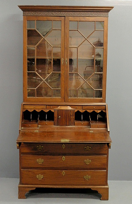 Chippendale mahogany two-piece secretary bookcase, circa1780. Estimate: $1,500-$2,000. Wiederseim Associates Inc.