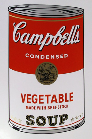 Serigraph of an Andy Warhol soup can painting. Image courtesy LiveAuctioneers.com Archive and RoGallery.