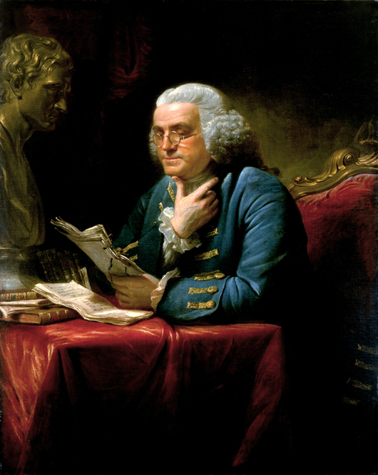 Benjamin Franklin in London, 1767, painted by David Martin (English, 1737-1797). Image courtesy of Wikimedia Commons.