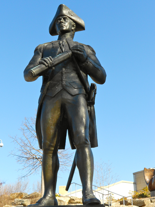 American sculptor Walker Hancock, who created the Robert Frost bust, also did this bronze of John Paul Jones, which stands in the Philadelphia Museum of Art Sculpture Garden. Image courtesy of Wikimedia Commons.