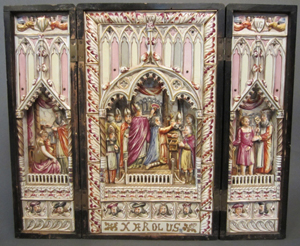 18th-century majolica triptych reliquary, 20 inches wide by 16¾ inches high. Sterling Associates image.