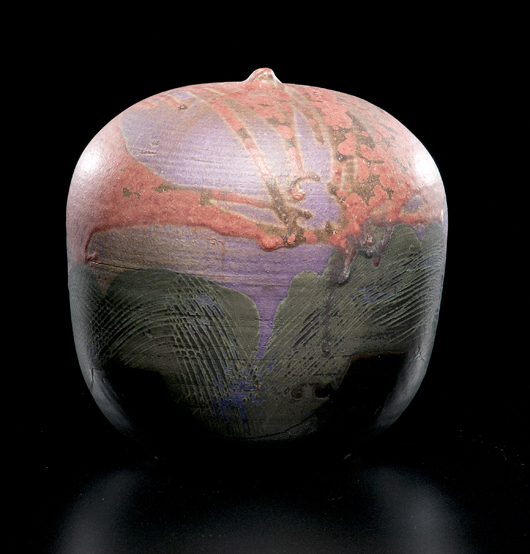 Collectors instinctively connect with Takaezu's moon pots. This 1993 example in soft shades of rose and lavender, 71/2 inches high, sold at a Cowan's+Clark+Del Vecchio auction last November for $5,100. Courtesy Cowan's+Clark+Del Vecchio Auctions.