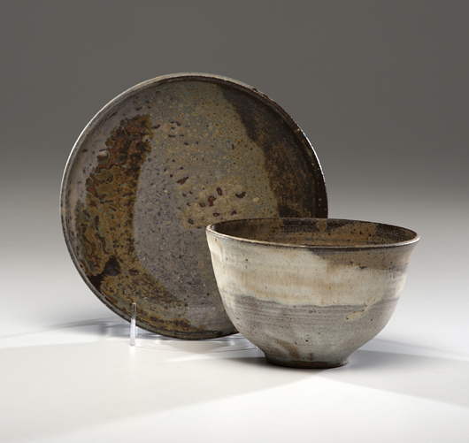 Beginning collectors can find entry points among Takaezu's smaller works. This matching bowl and plate, circa 1975, sold for $330 this June. Courtesy Cowan's+Clark+Del Vecchio Auctions.