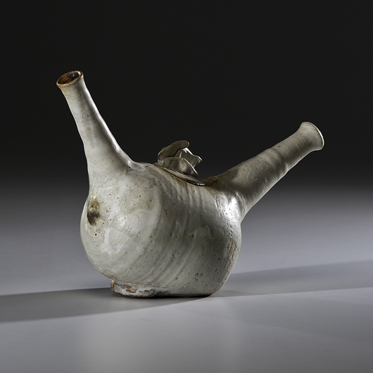 Takaezu experimented with unusual forms; a double-spouted teapot, circa 1956, sold for $1,762.50 at Cowan's in June. Courtesy Cowan's+Clark+Del Vecchio Auctions.