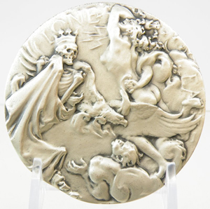 The reverse of MacMonnies' Charles Lindbergh medal depicts an allegory of the Lone Eagle battling against the elements and the specter of death. Blue Moon Coins image.