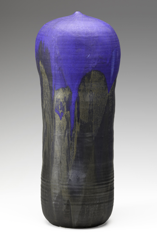 With its sought-after shape and glaze colors, this 24-inch-tall moon pot with rattle surpassed its $4,000-$6,000 estimate to bring $16,120 last year in a Rago ceramics sale. Courtesy Rago Auctions.
