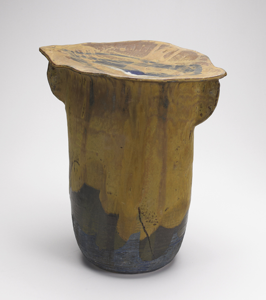 Perfect for an outdoor setting, this rare glazed porcelain garden stool with rattle, 1965-1970, brought $8,540 at Rago's in February 2011. Courtesy Rago Auctions.