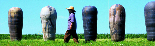 In an evocative photo taken over a decade ago, potter Toshiko Takaezu walks among a group of her larger works, which seem to have sprung from the earth. Photo by Tom Grotta.