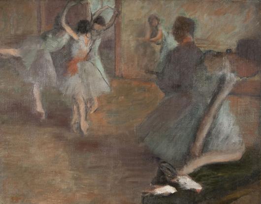 The loaned Degas: 'Repetition au Foyer de la Danse,' c. 1882 by Edgar Degas, oil on canvas, anonymous loan to Currier Museum of Art. Currier Museum of Art image.